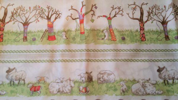 5.Tyg Stickad konst på träd, får och lamm