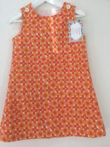 Klänning Mekko- Orangeblommor, 98 cm