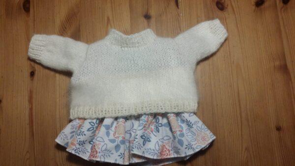 Dockkläder Pullover-Ski + klänning Blomma-blå